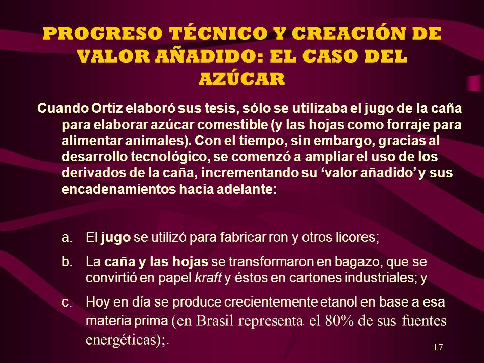 PROGRESO TÉCNICO Y CREACIÓN DE VALOR AÑADIDO: EL CASO DEL AZÚCAR