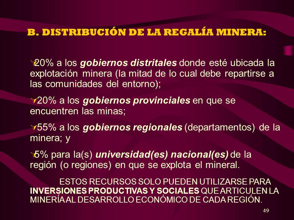 B. DISTRIBUCIÓN DE LA REGALÍA MINERA: