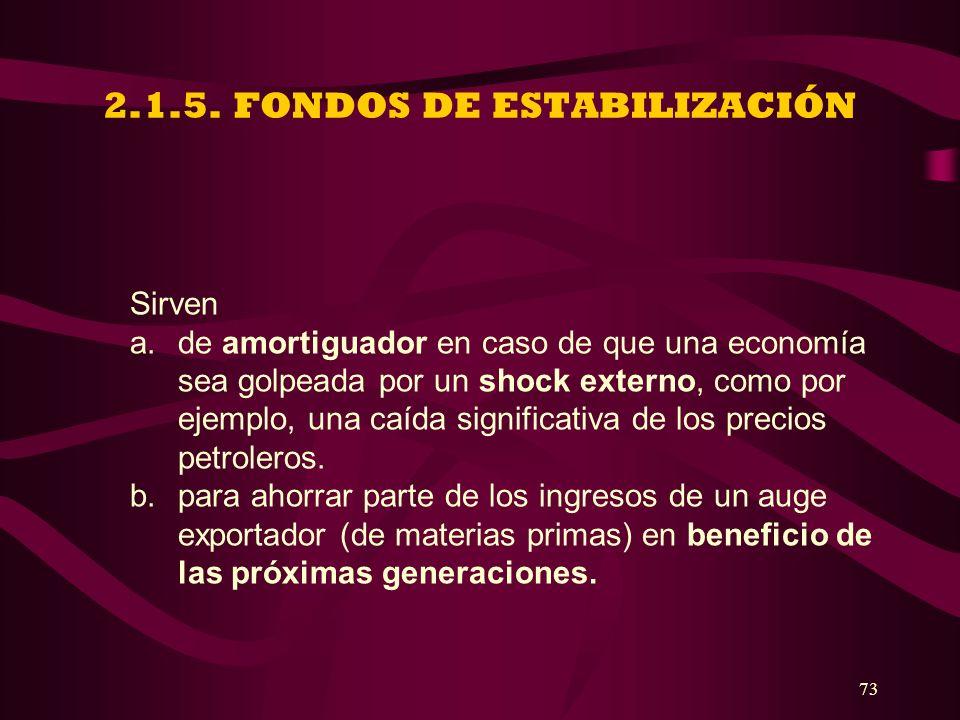 2.1.5. FONDOS DE ESTABILIZACIÓN
