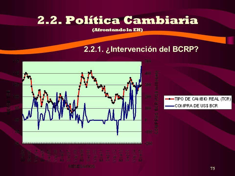 2.2. Política Cambiaria (Afrontando la EH)