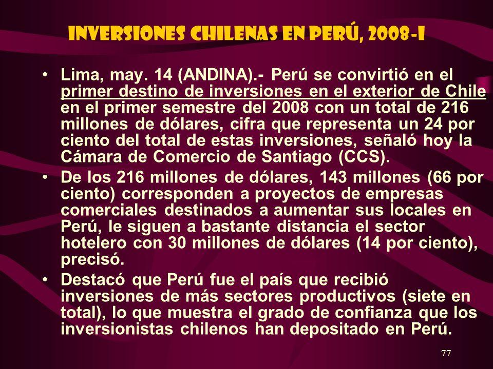 Inversiones chilenas en Perú, 2008-I