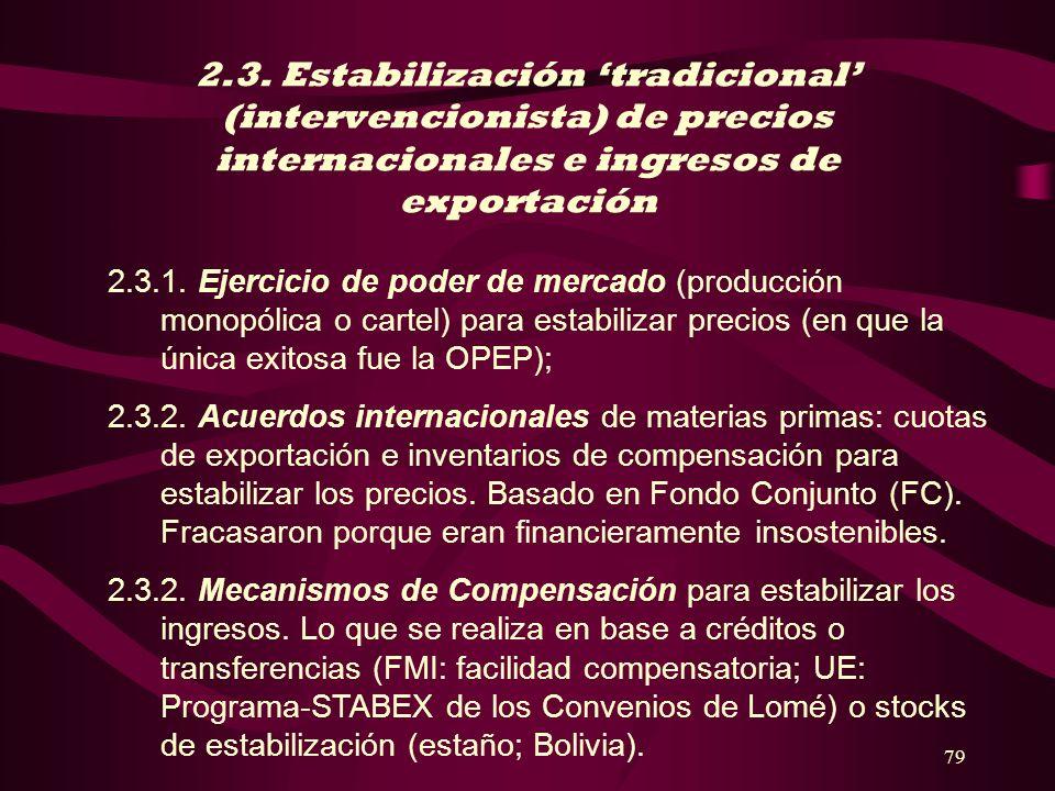 2.3. Estabilización 'tradicional' (intervencionista) de precios internacionales e ingresos de exportación