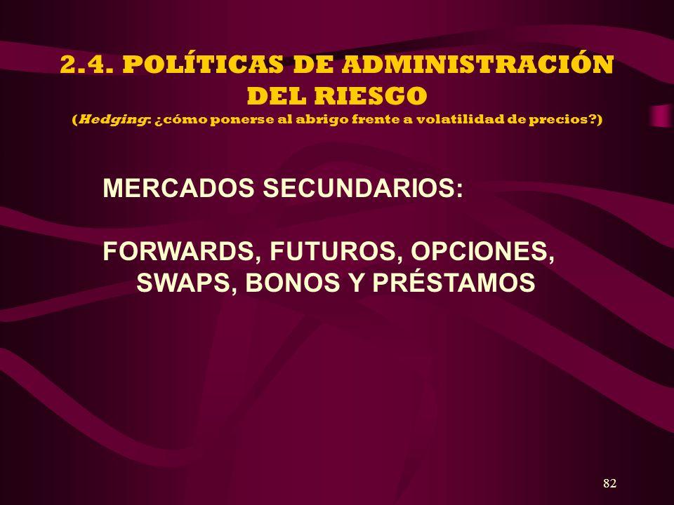 2.4. POLÍTICAS DE ADMINISTRACIÓN DEL RIESGO (Hedging: ¿cómo ponerse al abrigo frente a volatilidad de precios )