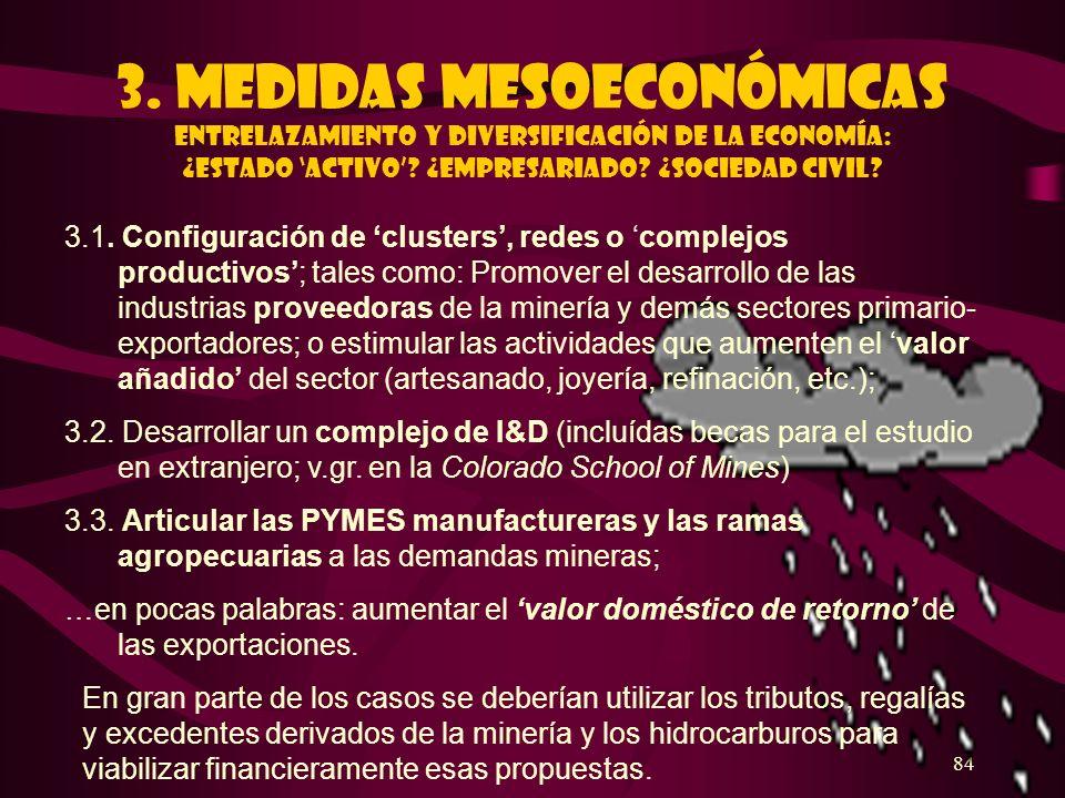 3. Medidas mesoeconómicas ENTRELAZAMIENTO Y DIVERSIFICACIÓN DE LA ECONOMÍA: ¿Estado 'activo' ¿EMPRESARIADO ¿SOCIEDAD CIVIL