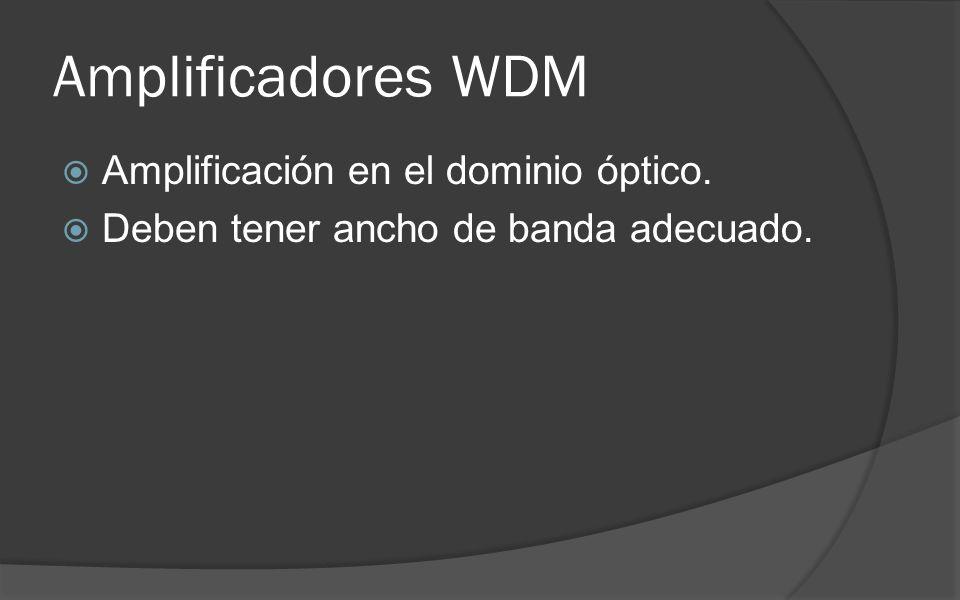 Amplificadores WDM Amplificación en el dominio óptico.