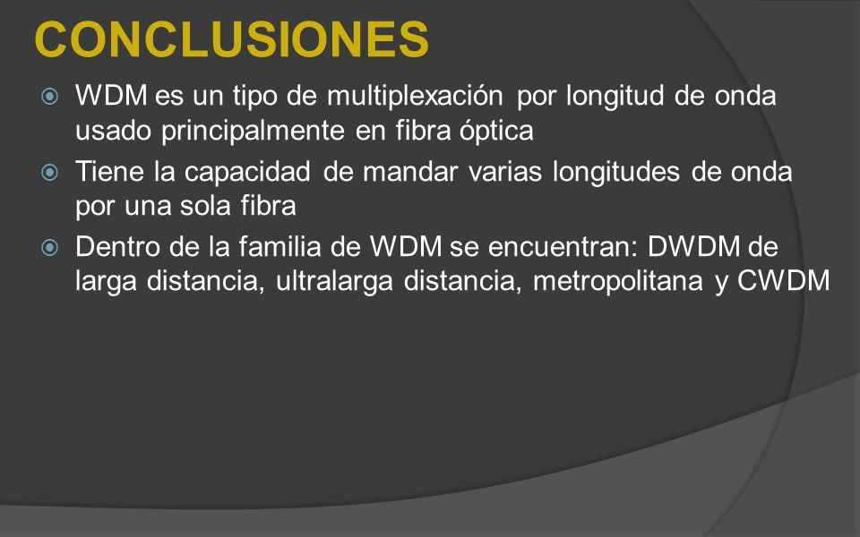 CONCLUSIONES WDM es un tipo de multiplexación por longitud de onda usado principalmente en fibra óptica.