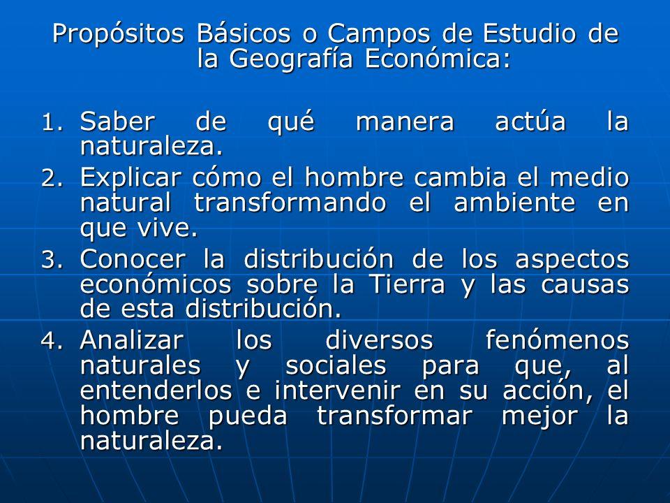 Propósitos Básicos o Campos de Estudio de la Geografía Económica: