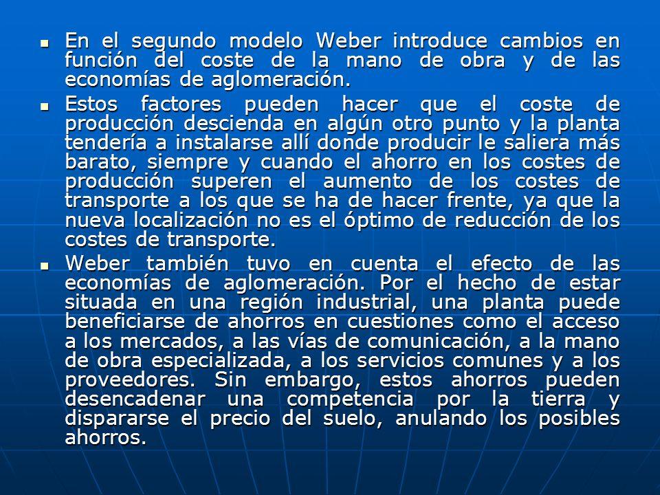 En el segundo modelo Weber introduce cambios en función del coste de la mano de obra y de las economías de aglomeración.
