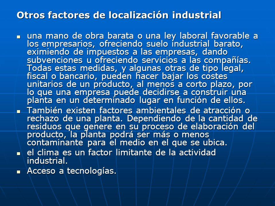 Otros factores de localización industrial