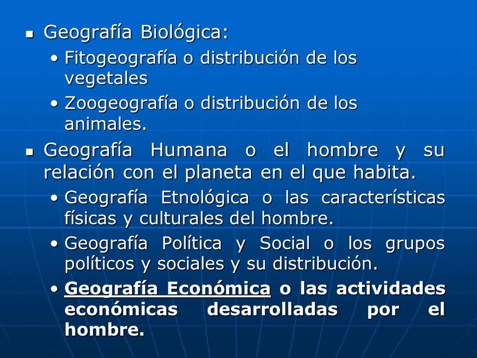 Geografía Biológica:Fitogeografía o distribución de los vegetales. Zoogeografía o distribución de los animales.