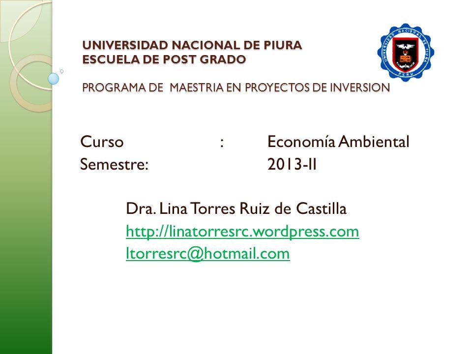 Curso : Economía Ambiental Semestre: 2013-II