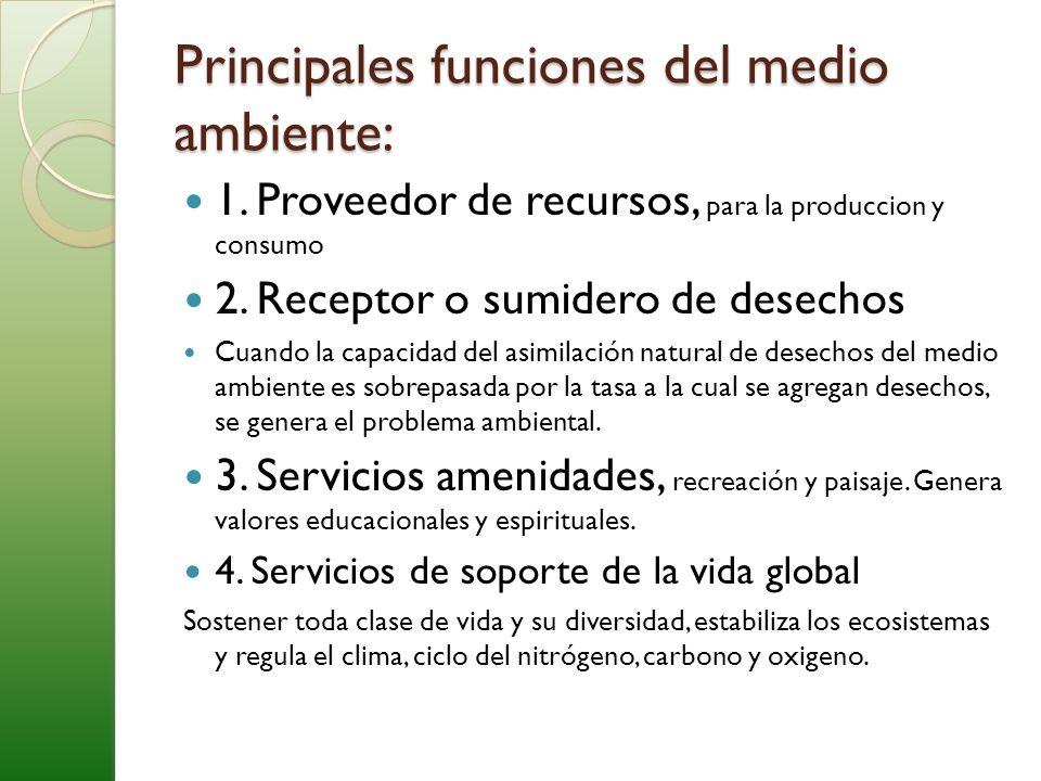 Principales funciones del medio ambiente: