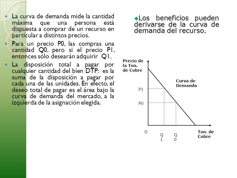Los beneficios pueden derivarse de la curva de demanda del recurso.