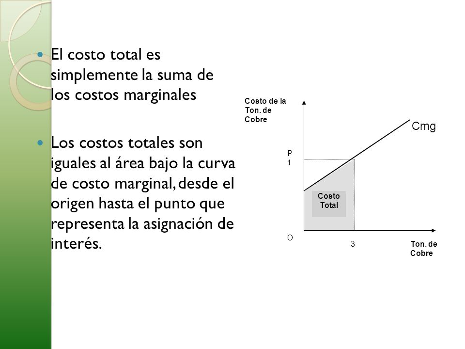 El costo total es simplemente la suma de los costos marginales