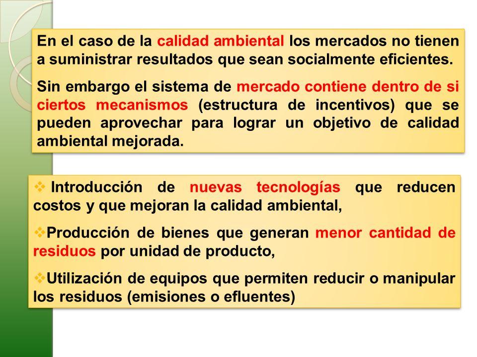 En el caso de la calidad ambiental los mercados no tienen a suministrar resultados que sean socialmente eficientes.