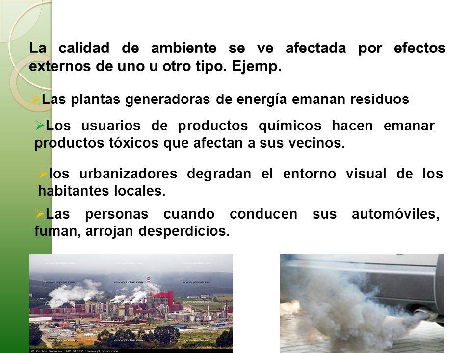 La calidad de ambiente se ve afectada por efectos externos de uno u otro tipo. Ejemp.