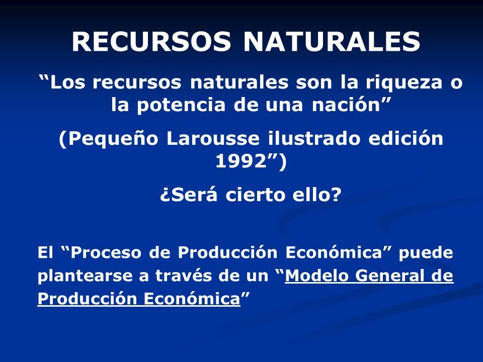 RECURSOS NATURALES Los recursos naturales son la riqueza o la potencia de una nación (Pequeño Larousse ilustrado edición 1992 )