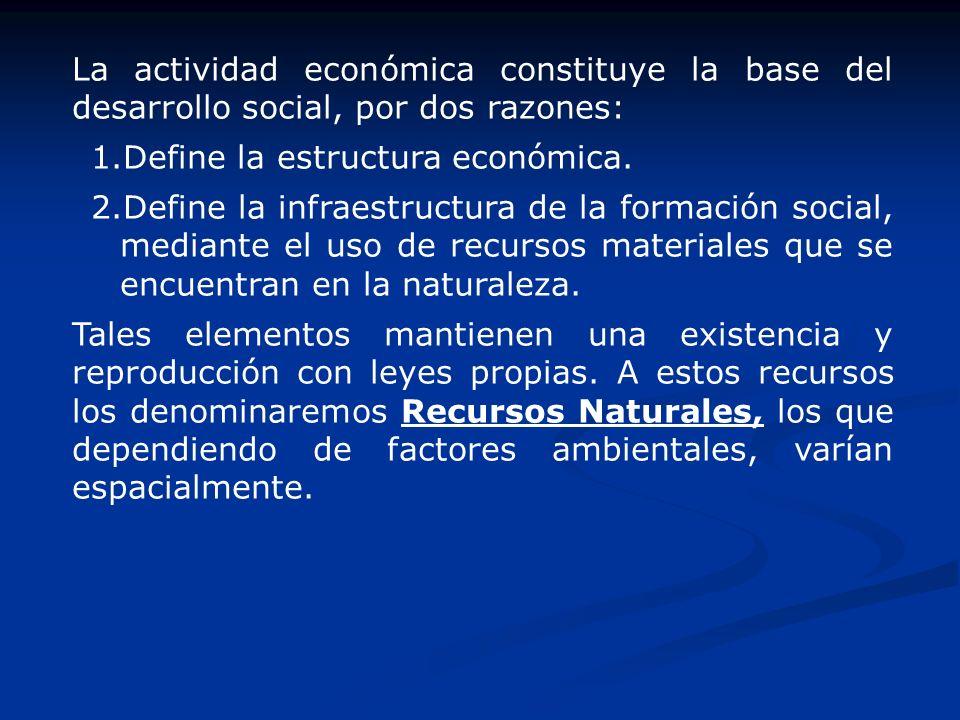 La actividad económica constituye la base del desarrollo social, por dos razones: