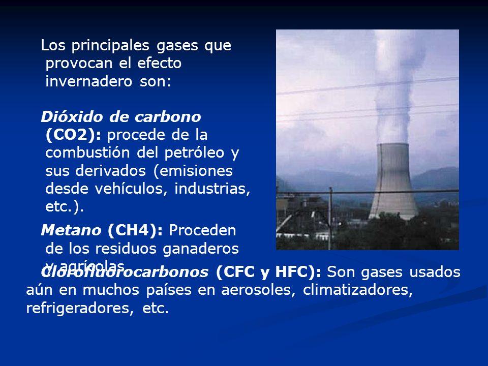 Los principales gases que provocan el efecto invernadero son:
