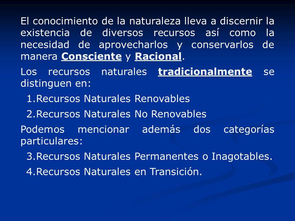El conocimiento de la naturaleza lleva a discernir la existencia de diversos recursos así como la necesidad de aprovecharlos y conservarlos de manera Consciente y Racional.