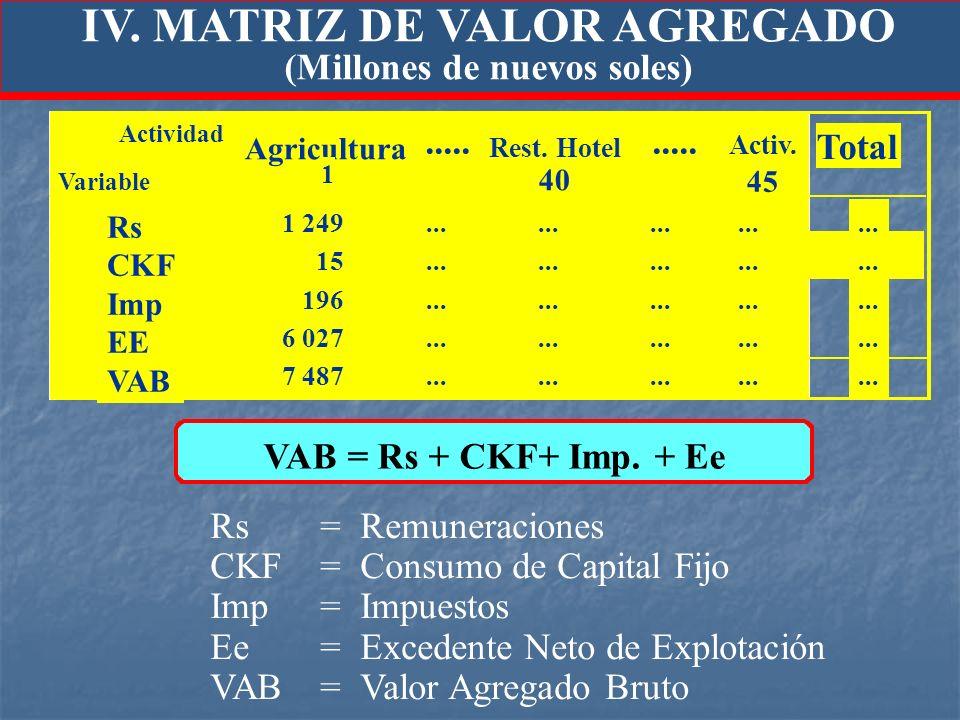 IV. MATRIZ DE VALOR AGREGADO (Millones de nuevos soles)