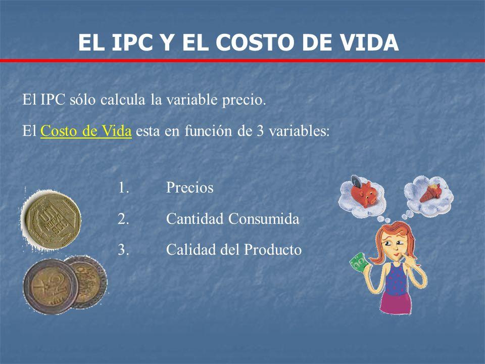 EL IPC Y EL COSTO DE VIDA El IPC sólo calcula la variable precio.