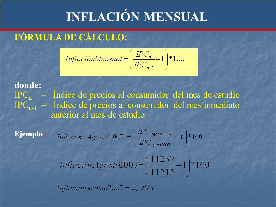 INFLACIÓN MENSUAL FÓRMULA DE CÁLCULO: donde: