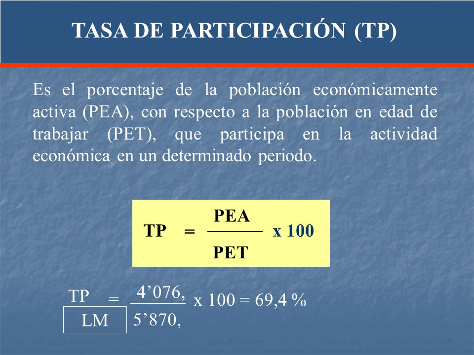TASA DE PARTICIPACIÓN (TP)