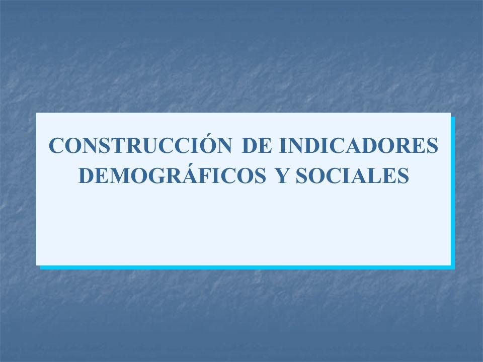 CONSTRUCCIÓN DE INDICADORES DEMOGRÁFICOS Y SOCIALES