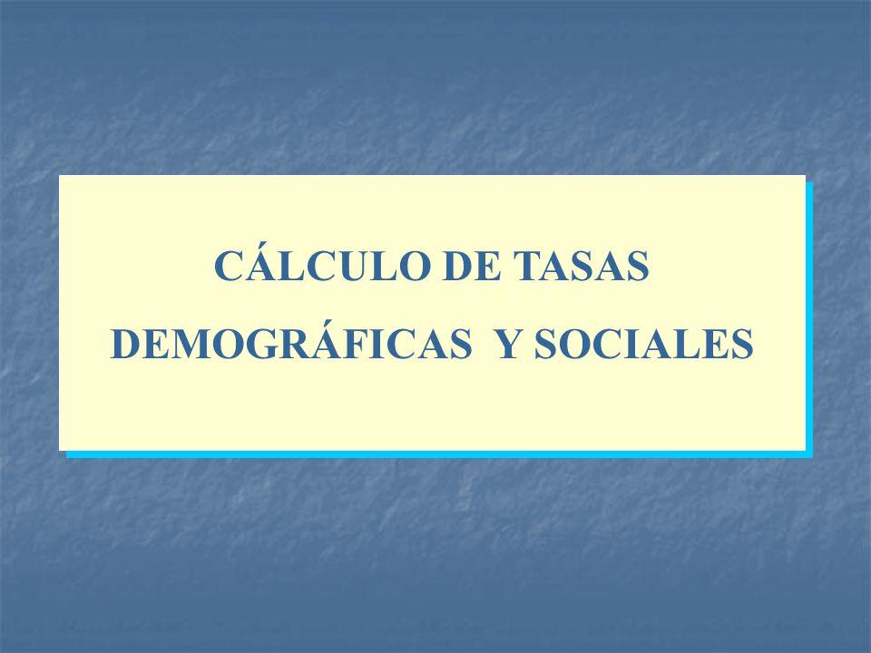 CÁLCULO DE TASAS DEMOGRÁFICAS Y SOCIALES