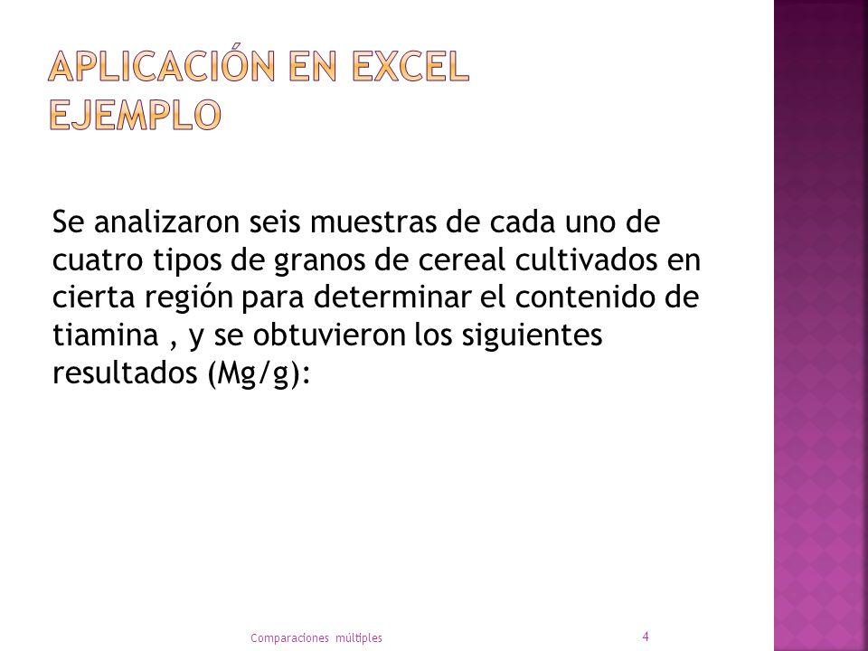 Aplicación en Excel ejemplo