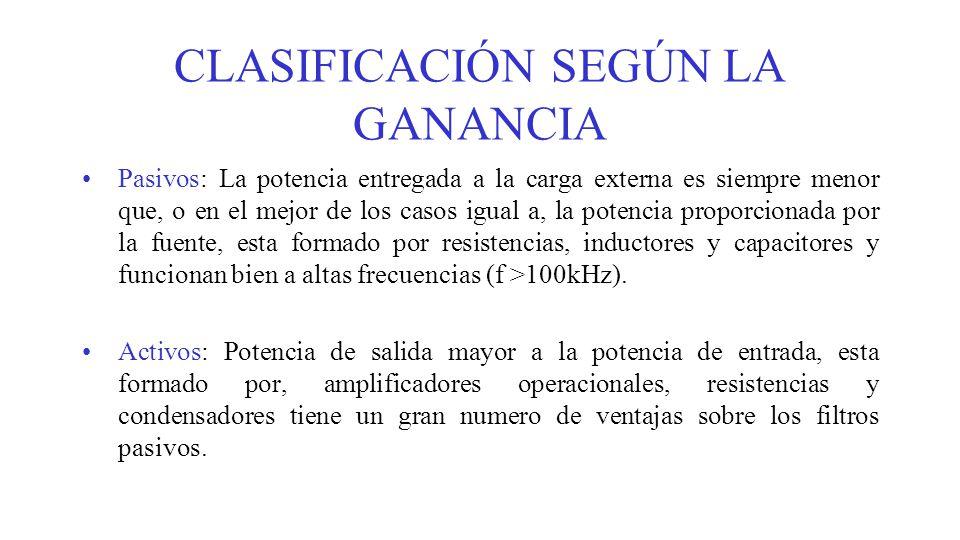 CLASIFICACIÓN SEGÚN LA GANANCIA