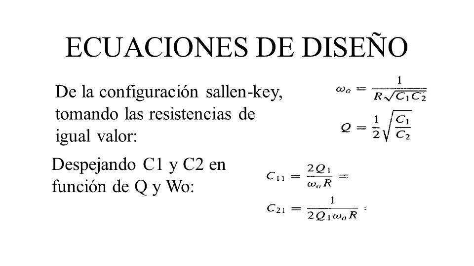 ECUACIONES DE DISEÑO De la configuración sallen-key, tomando las resistencias de igual valor: Despejando C1 y C2 en función de Q y Wo: