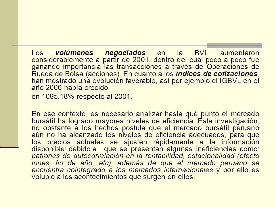 Los volúmenes negociados en la BVL aumentaron considerablemente a partir de 2001, dentro del cual poco a poco fue ganando importancia las transacciones a través de Operaciones de Rueda de Bolsa (acciones). En cuanto a los índices de cotizaciones, han mostrado una evolución favorable, así por ejemplo el IGBVL en el año 2006 había crecido