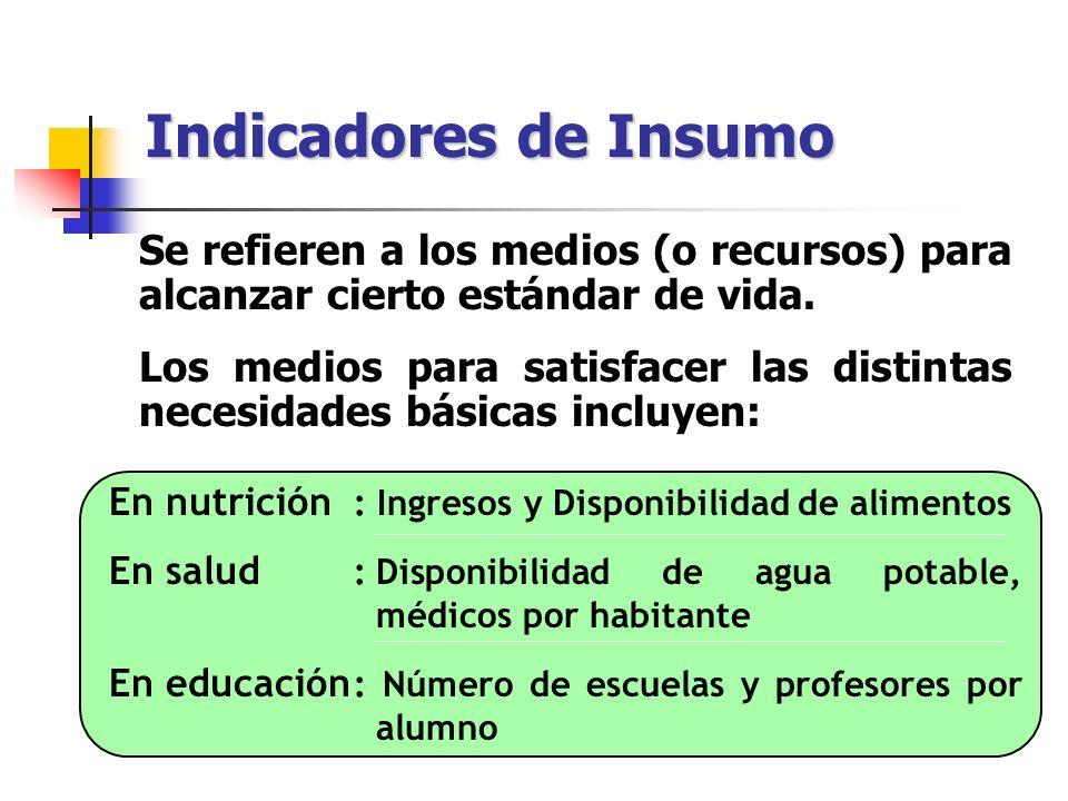 Indicadores de Insumo Se refieren a los medios (o recursos) para alcanzar cierto estándar de vida.