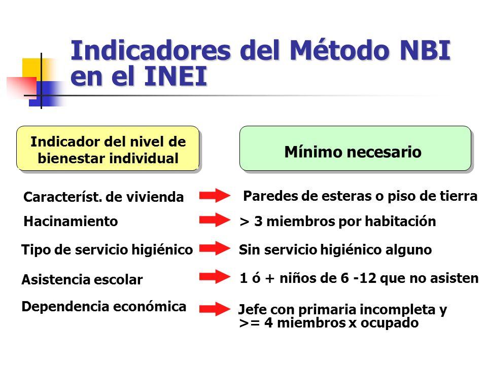 Indicadores del Método NBI en el INEI
