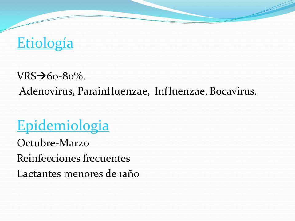 Etiología Epidemiologia VRS60-80%.
