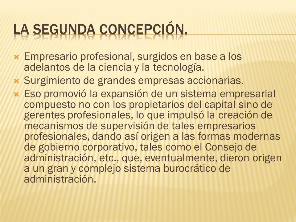 La segunda concepción. Empresario profesional, surgidos en base a los adelantos de la ciencia y la tecnología.