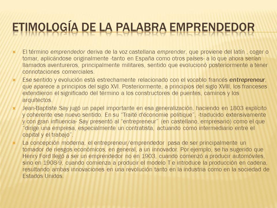Etimología de la palabra emprendedor
