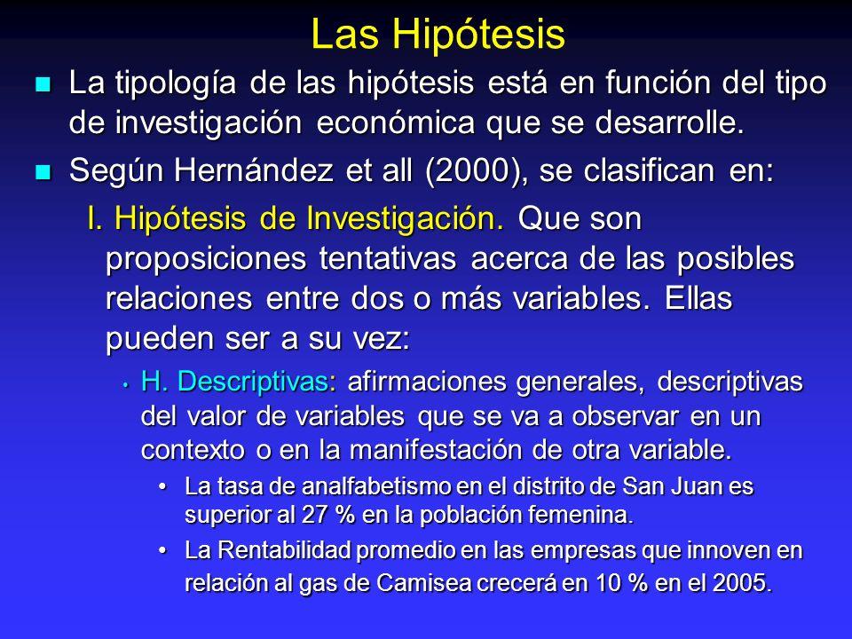 Las Hipótesis La tipología de las hipótesis está en función del tipo de investigación económica que se desarrolle.