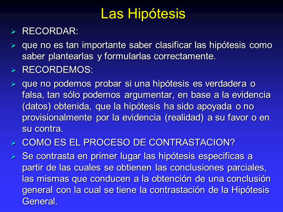 Las Hipótesis RECORDAR: