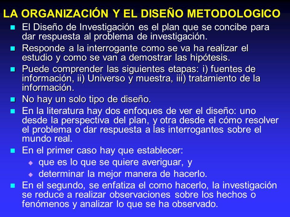 LA ORGANIZACIÓN Y EL DISEÑO METODOLOGICO