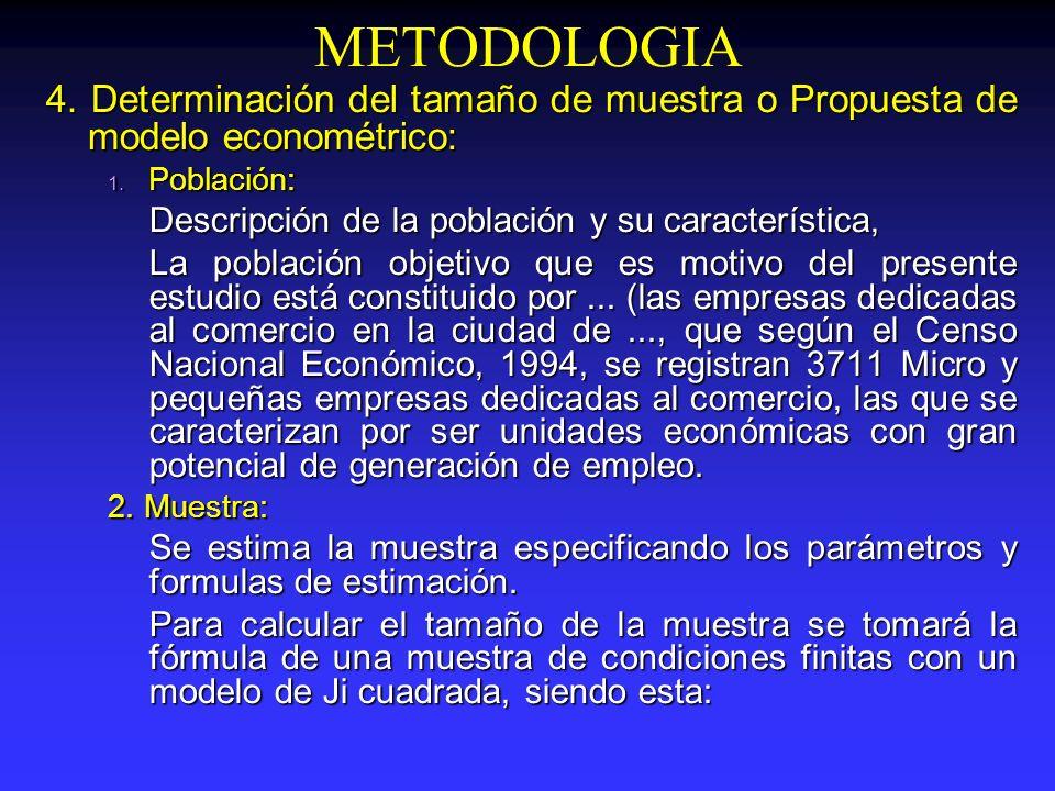 METODOLOGIA4. Determinación del tamaño de muestra o Propuesta de modelo econométrico: Población: Descripción de la población y su característica,