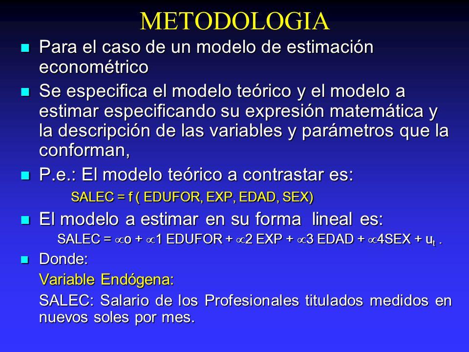 METODOLOGIA Para el caso de un modelo de estimación econométrico