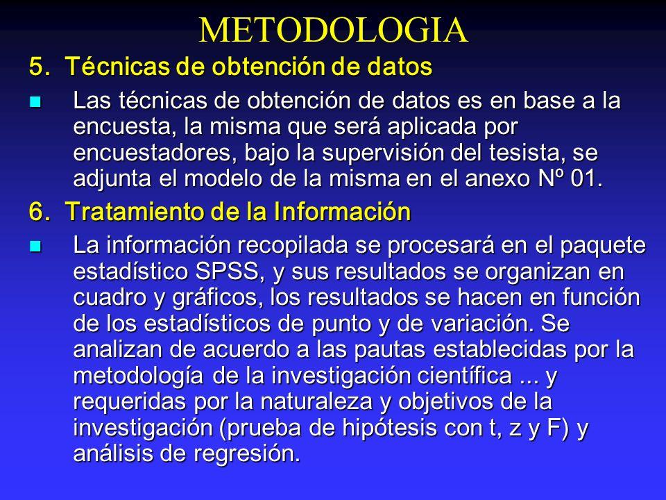 METODOLOGIA 5. Técnicas de obtención de datos