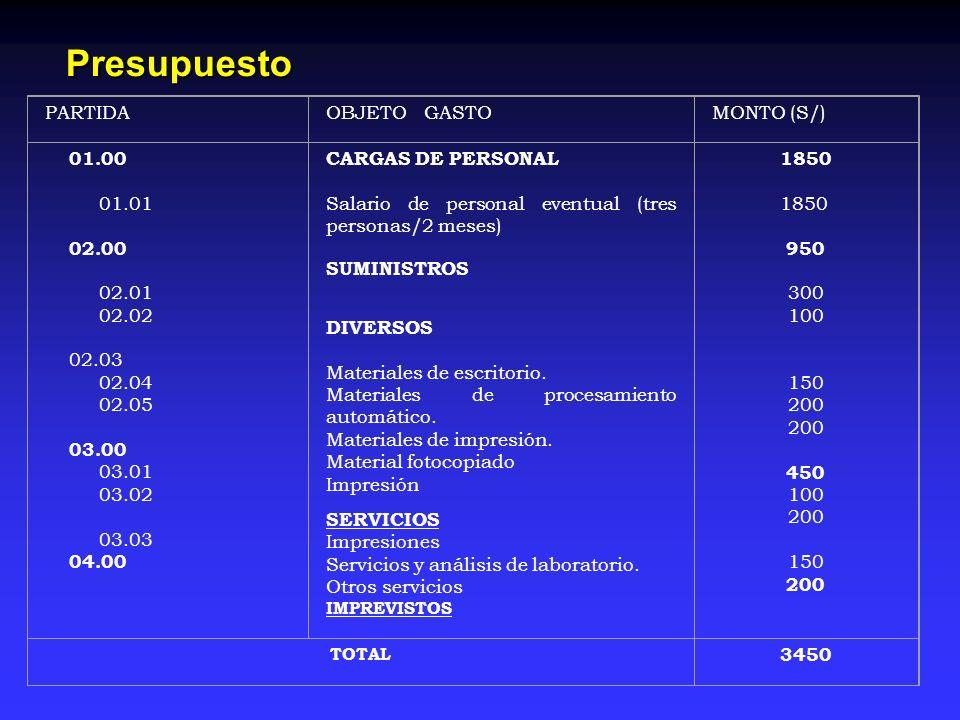 Presupuesto PARTIDA OBJETO GASTO MONTO (S/) 01.00 01.01 02.00 02.01