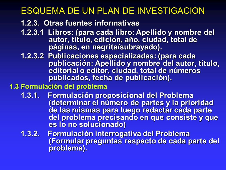 ESQUEMA DE UN PLAN DE INVESTIGACION