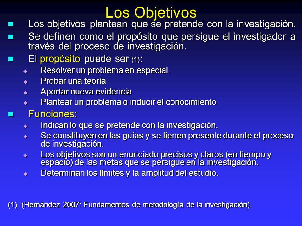 Los Objetivos Los objetivos plantean que se pretende con la investigación.