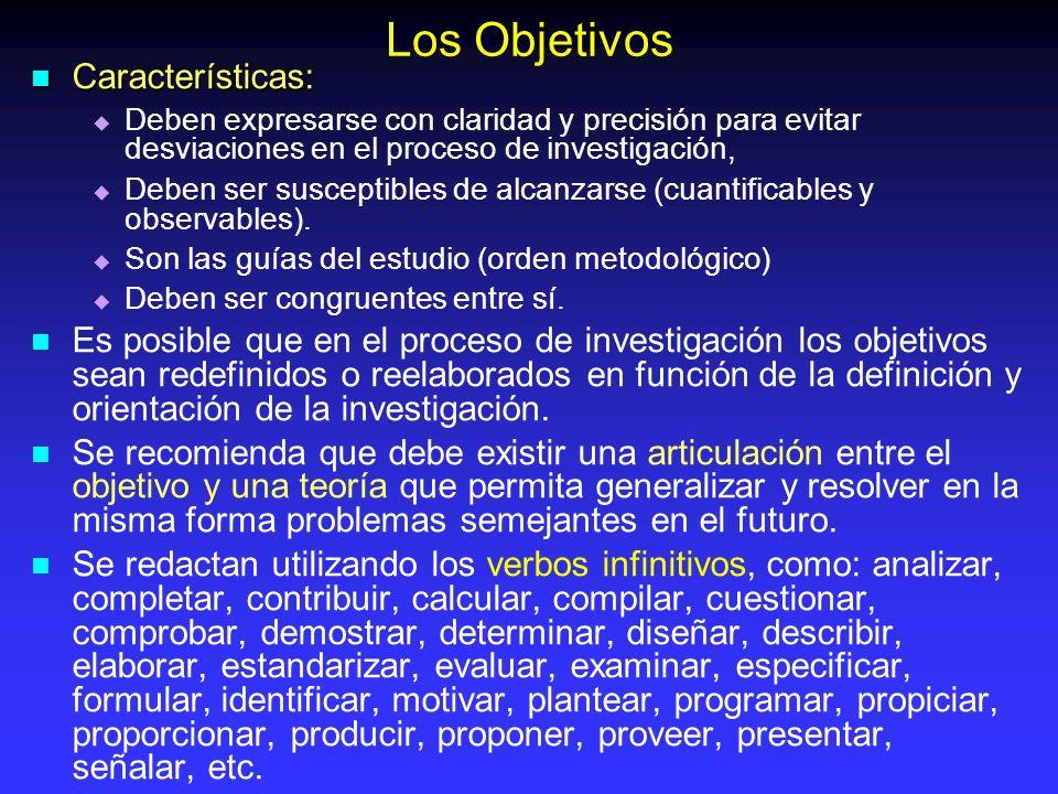 Los Objetivos Características:
