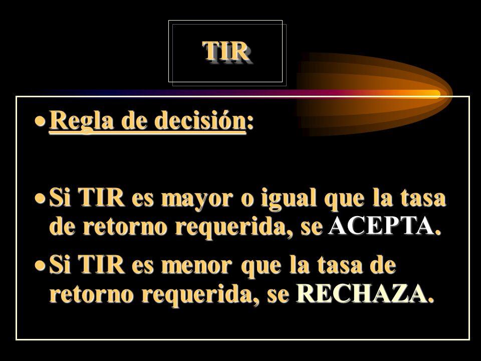 TIRRegla de decisión: Si TIR es mayor o igual que la tasa de retorno requerida, se ACEPTA.